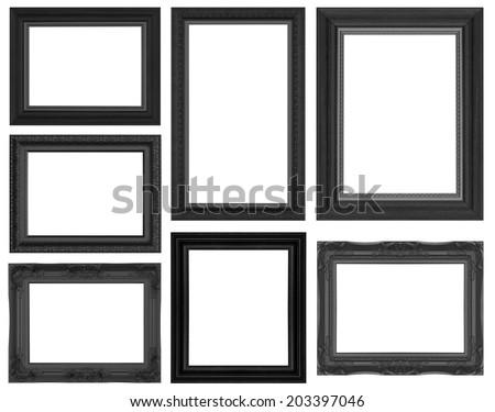 Set antique black frame isolated on white background - stock photo