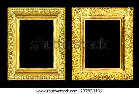 Set 2 antique golden frame isolated on black background, clipping path  - stock photo
