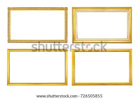 Set Antique Golden Frame Isolated On Stock Photo (Royalty Free ...