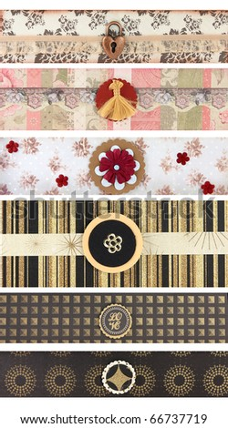 set banners for scrapbooking and backgrounds - stock photo