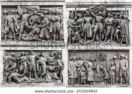 Set Bas-relief Scenes On The Wall Of The Stele Dedicated To The Memory Of The Great Patriotic War. Victory Square - Symbol Belarusian Capital, Minsk, Belarus - stock photo
