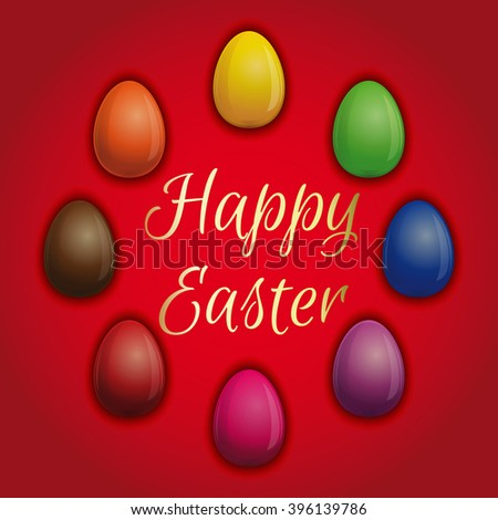 Set beautiful  multicolored Easter eggs on a red background. Easter eggs icons for Easter holidays design. Happy Easter. Easter illustration - stock photo