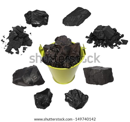 Set black coal isolated on white background - stock photo
