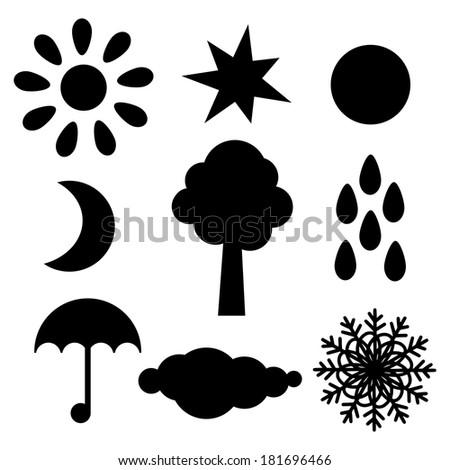 Set black silhouette sun, star, moon, half moon, tree, raindrops, umbrella ,cloud, snowflake isolated. Abstract design logo. Logotype art - raster version - stock photo