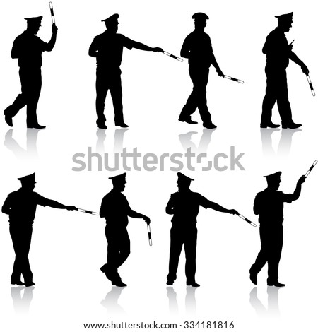 Set black silhouettes  Police officer  with a rod on white background. illustration.