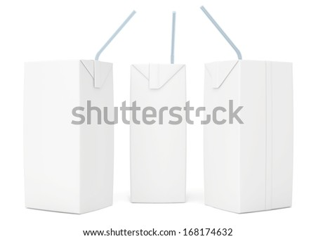 set blank juice packaging. 3d render on white background. - stock photo