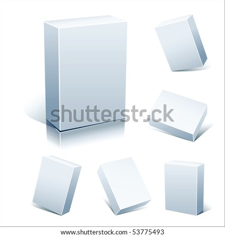 Set  blank white boxes isolated on white - stock photo