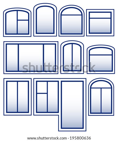 set blue isolated window silhouette on white background - stock photo