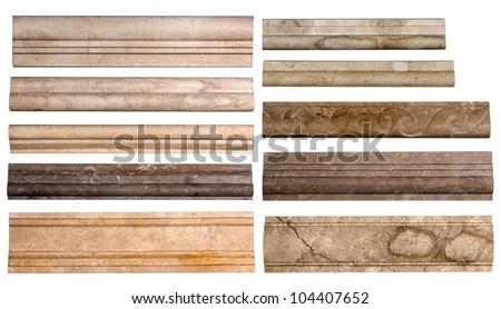 Set border stone marble isolated on white background - stock photo