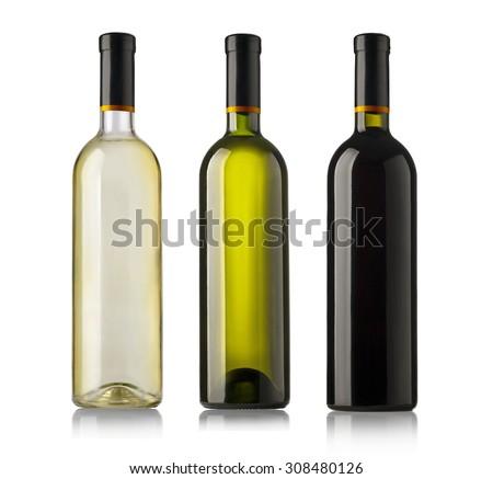Set  bottles of wine  isolated on white background. - stock photo