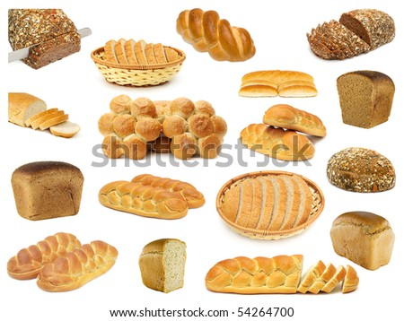 set breads isolated on a white - stock photo