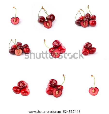 Set cherries isolated on a white background