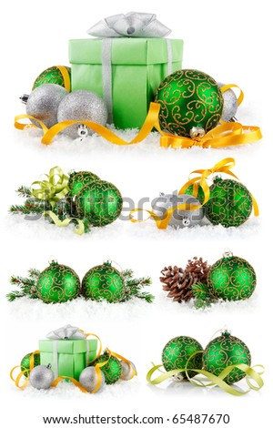 set christmas balls in snow isolated on white background - stock photo