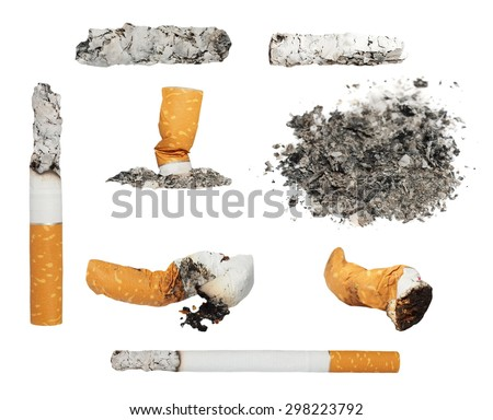 Set Cigarette butts and ashes from tobacco isolated on white background - stock photo