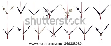 set clock hands on a white background - stock photo