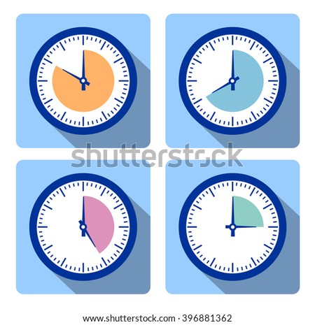 Set clock with the timer. Set clock with the timer. A set of movements. Conceptual image of the clock. Time intervals. The length of time to perform business tasks. time clock - stock photo