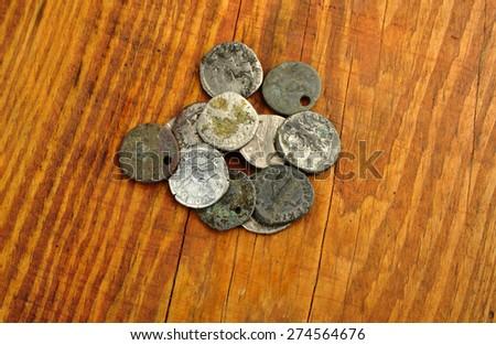Set Coins Old silver Roman denarius - stock photo