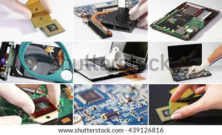 Set collage of computer (laptop) hardware and components photos - stock photo