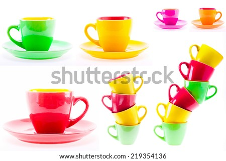 Set, Collage Yellow, Red, Green Color Cups. Leaning Tower Stack Of Clean Different Cups Isolated On White Background - stock photo