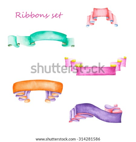 Set, collection of isolated ribbons painted in watercolor on a white background - stock photo