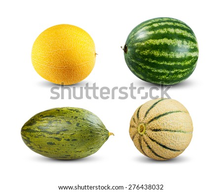Set Collection of Melon and Watermelon isolated on white background. - stock photo