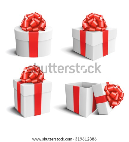 Set Collection of White Celebration Gift Boxes with Red Bows Isolated on White Background - stock photo
