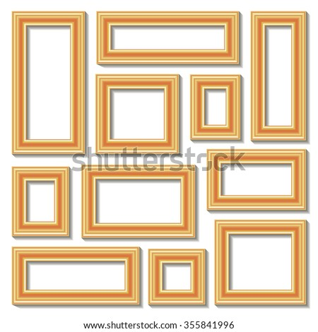 Set collections of golden empty frames with shadows for your art, text or photo. Isolated on white background. Raster copy. - stock photo