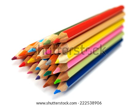 Set color pencils on white background - stock photo
