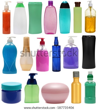 Set colored plastic bottles with liquid soap and shower gel isolated on white background . Studio shooting. Set.
