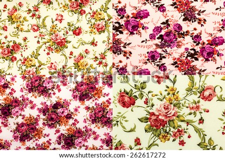 Set colorful rose fabric background.