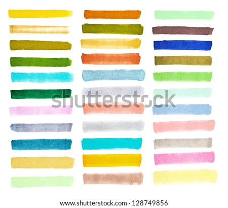 set colorful watercolor brush strokes on the white - stock photo