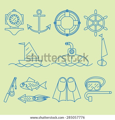Set contour icon dedicated to the sea and maritime work. - stock photo