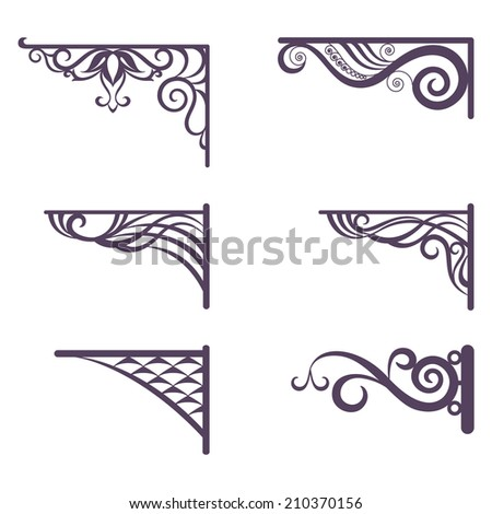 Set decorative vintage forged brackets for street signboard, silhouettes isolated on white background. - stock photo