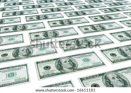 Set denominations of hundred dollars on a white background.