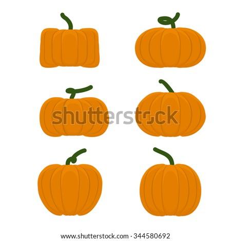 Set different pumpkins. Vegetables for Halloween. - stock photo