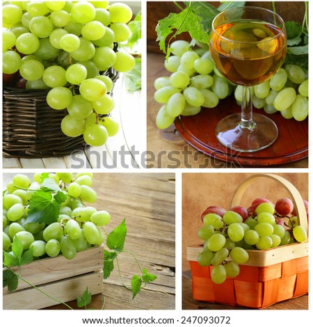 Set different white green grapes on a wooden table - stock photo