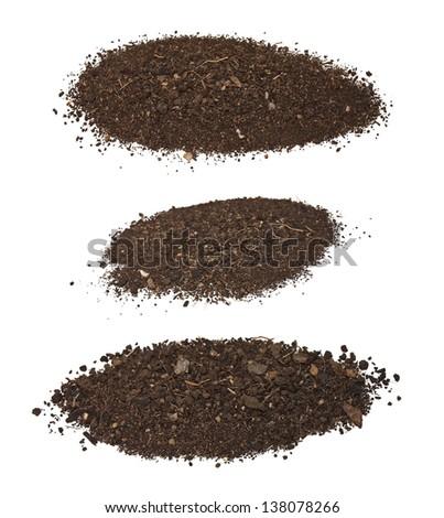 set dirt isolated on white background - stock photo