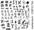 set doodle abstract business icons - stock photo