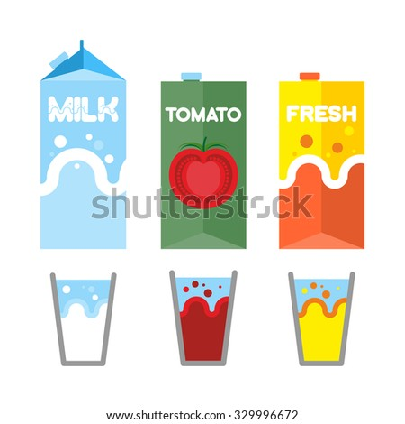 Set drinks in package. Milk, tomato juice, and fresh. Glasses for drinks.   - stock photo