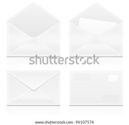 Set e-mail, envelops icons on white background - stock photo