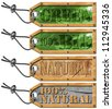 Set Eco Tags - Ecology Concept /Green bio and natural tags with steel cable - 4 items - stock photo
