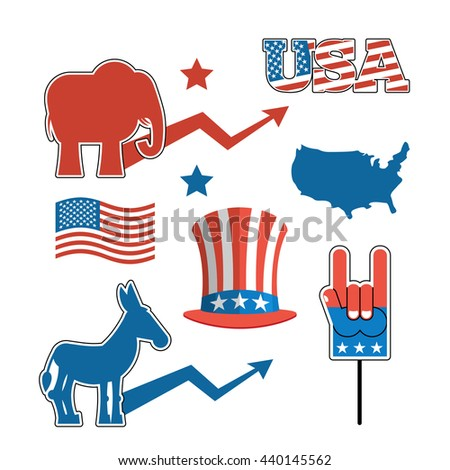 Set elections in America. Uncle Sam hat. American flag. Set  political debate in United States. US flag. Donkey and elephant symbols of political parties in America. Democrats against Republicans. Map - stock photo