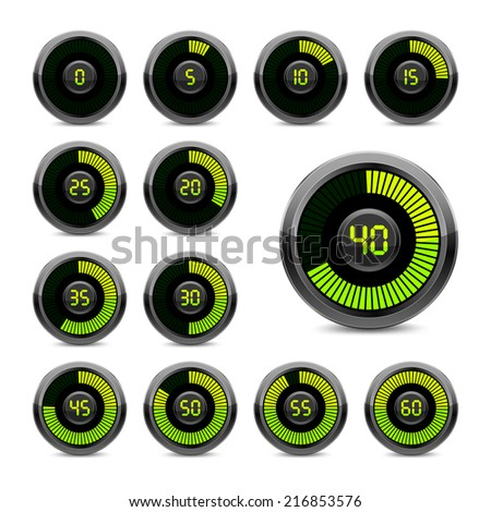 Set electronic timer on a white background. Green indicator.  - stock photo