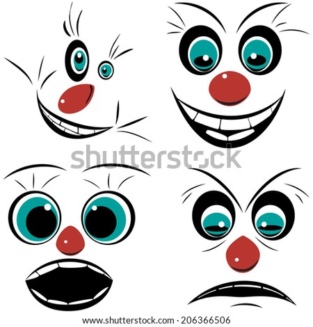 Set, faces pronounced emotions, raster graphics - stock photo