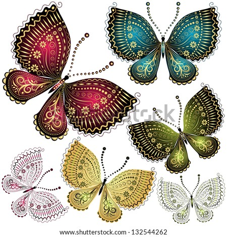 Set fantasy colorful vintage butterflies - stock photo