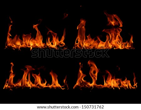 Set fire flames in black background  - stock photo