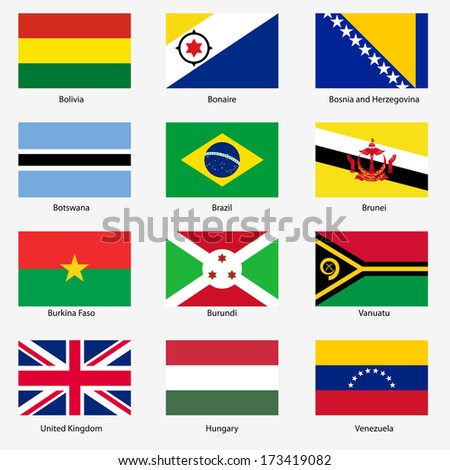 Set  Flags of world sovereign states.  illustration. Set number 3. Exact colors. Easy changes.