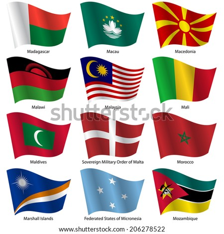 Set  Flags of world sovereign states.  illustration. Set number 10. Exact colors. Easy changes.