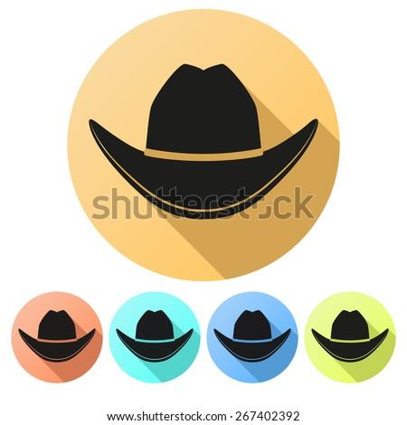 Set Flat icons of Black cowboy hat traditional symbol. Illustration Isolated on white background. - stock photo