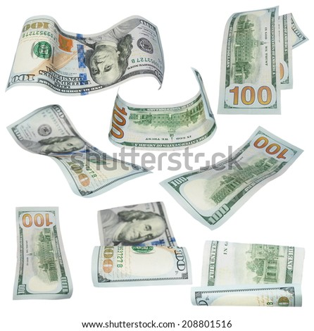 Set flying new 100 dollars banknotes isolated on white background